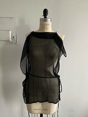 Ann Demeulemeester Black Silk Chiffon Top 38 XS Uma Wang Yohji Yamamoto