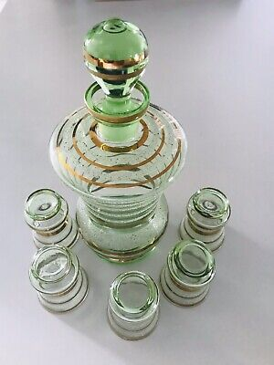 Vintage Striped Green Decanter and 5 Shot Glass Set Green,Gold & Frosted Unique