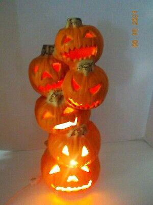 Vintage 1990's Trendmasters Halloween Jack O Lantern PUMPKIN TOWER LIGHT DECOR