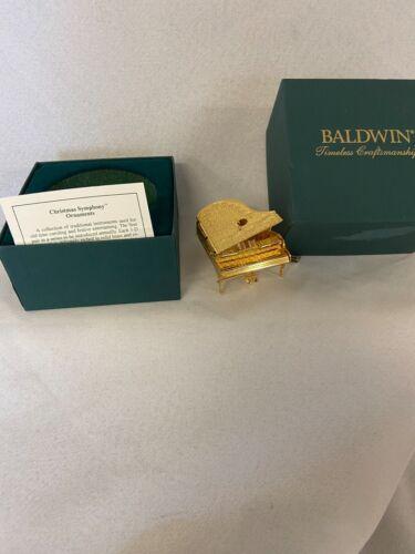 Baldwin Brass Classical Piano Christmas Ornament 24KT Gold Finish 7120.010 W/Box