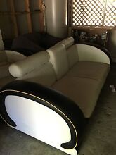 3 seater black and white leather Art Deco style lounge Ashmore Gold Coast City Preview