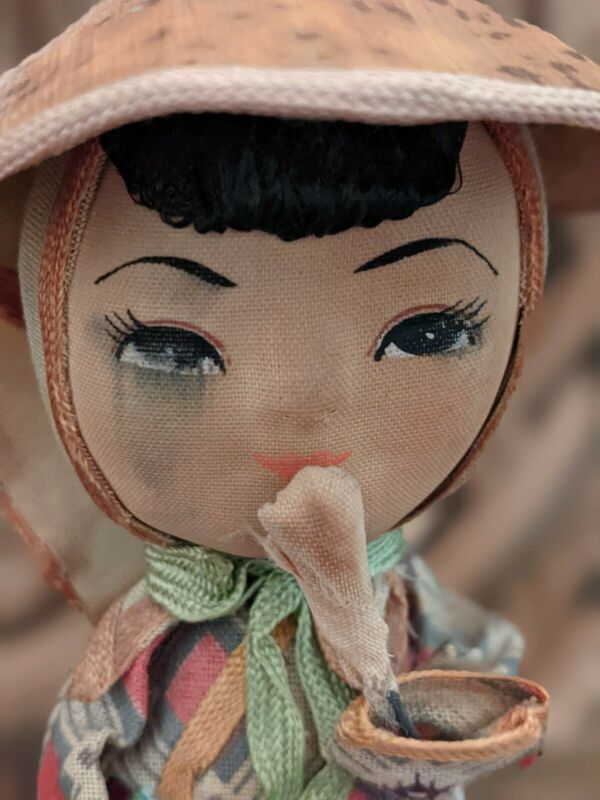 Vintage Small Oriental Girl Doll Wearing Hat Holding Basket