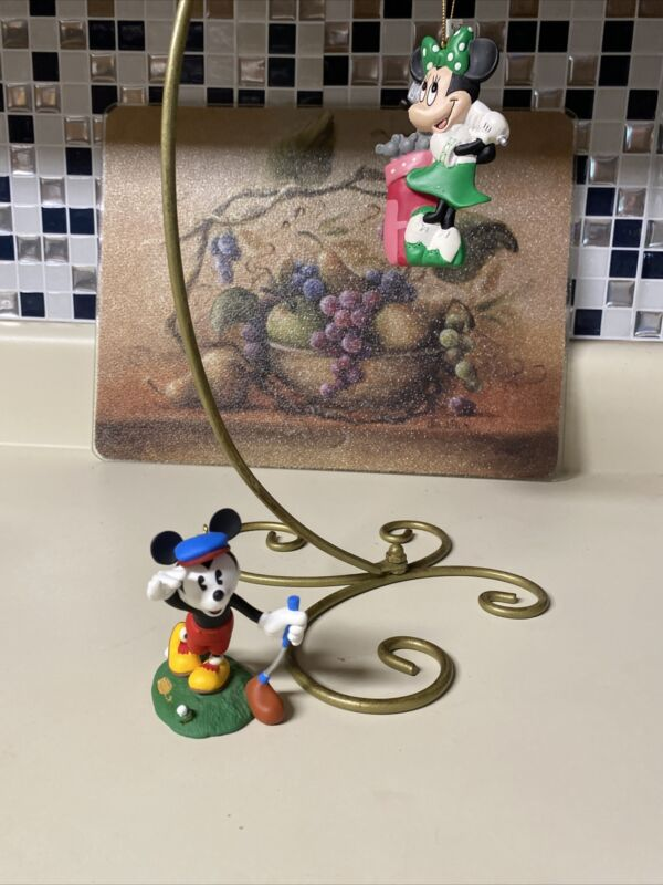 Vintage Disney MINNIE MOUSE FINAL PUTT Golf Christmas Tree Ornament & Mickey Lot