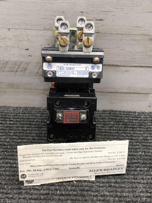 Allen Bradley 702L-COD92 Lighting Contactor 60Amp 2 Poles 120V Series K