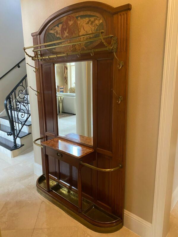 Antique French Mahogany Hall Tree with Beveled Mirror/Brass Accents/Tapestry