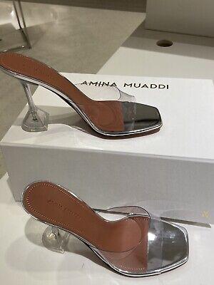 NIB Amina Muaddi Lupita Glass PVC Mules Size 37.5