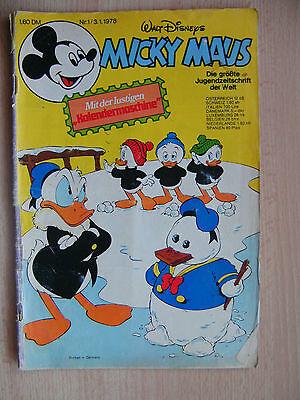 Micky Maus Hefte, Nr. 1  / Jahrg.1978 ,  Comics, Walt Disney,