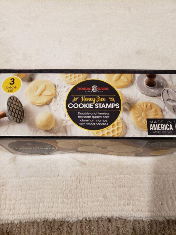 Nordic Ware Cast Cookie Stamps Honeybee, 3 count, Silver Honey Bees