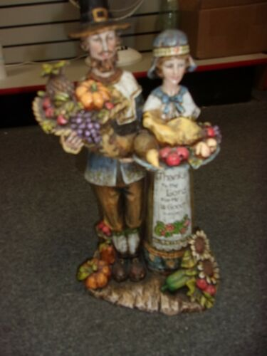 """Thanksgiving Fall Harvest Pilgrims Man and Woman 16"""" Colorful Figurine"""