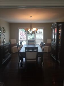 Dining Table with 8 Chairs Solid Cherry Wood