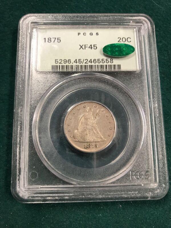 1875 20c PCGS XF45 W/CAC OGH