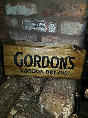 Vintage antiqued wooden box, crate, trug, MEDIUM BOX, GORDONS GIN