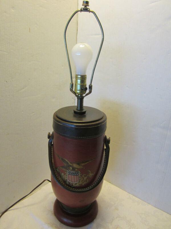 Vintage Leather bucket table lamp NYC FIREMAN