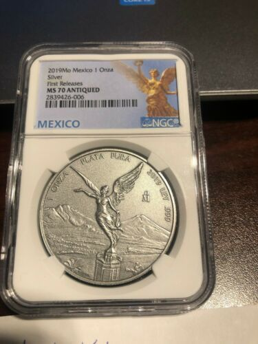 2019 Mo Mexico 1 oz Silver Libertad Antiqued 1 Onza Coin MS 70 NGC - blue label