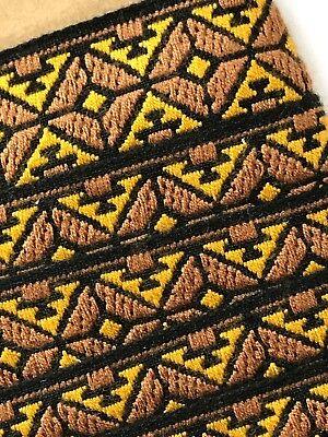 Design Gold Trim (Vintage Trim - Brown & Gold Diamond Design Jacquard 1 1/8