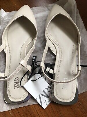 New ZARA LOW Flat Slingback Shoes Slip On White Color Size 9