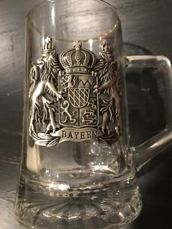 Bayern Glass Beer Mug Stein Pewter Lion Crest Shield Sword Germany etched wheat