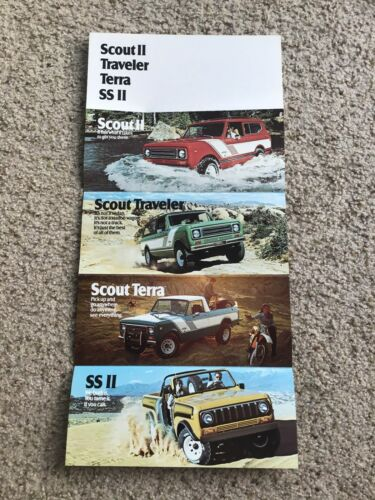 1970s  International  Scout with full line models color folder.