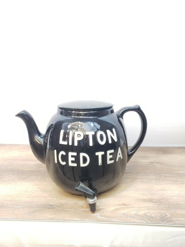 Vintage Large Hall USA Lipton Ice Tea Pot  Ceramic Restaurant Counter Dispenser