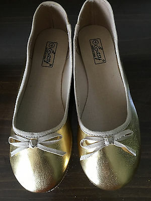 FANCY Girl's shoes, NEW, GOLD, slip on, size 13
