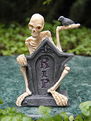 Miniature Dollhouse FAIRY GARDEN Accessories ~ Mr. RIP Halloween Skeleton Statue - Fairy Garden Halloween Decorations