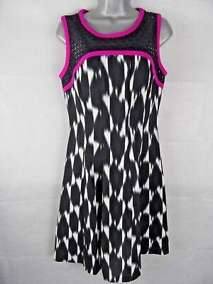 IVANKA TRUMP A-Line Dress Size US6 Uk10 Black White Print Hot Pink Trim