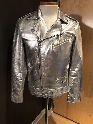 New Zara Man Silver Metallic Moto Jacket Size Medium