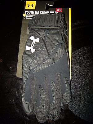 Brand New Boys Black Under Armour Clean Up Batting Gloves, L
