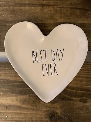 Rae Dunn Magenta Heart Shaped Plate Valentine's/Wedding - BEST DAY -