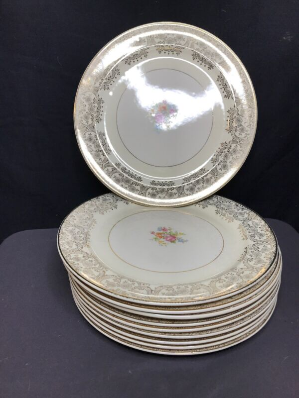 "Vintage Paden City Pottery PCP9 Floral 10 10"" Floral Dinner Plates. Crazing."