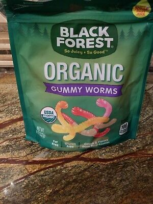 Organic Black Forest Gummy Worms 8 oz Half Pounder Real Fruit Juice Gluten Free Black Forest Gummy Worms