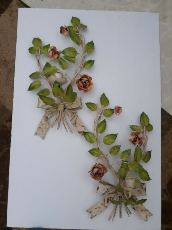 Vtg Antique Tole Metal Pink Green Floral Bow Candle Holders Wall Sconce Decor