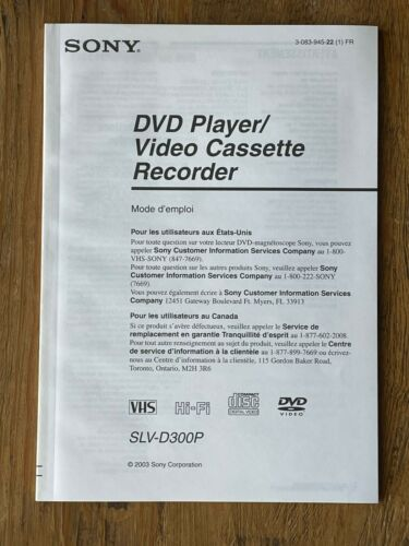 Sony SLV-D300P DVD/VCR Combo Instruction Manual Operators Guide - FRENCH