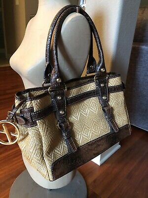 Francesco Biasia Woven Straw Large Handbag Purse Tan With Brown Leather Trim