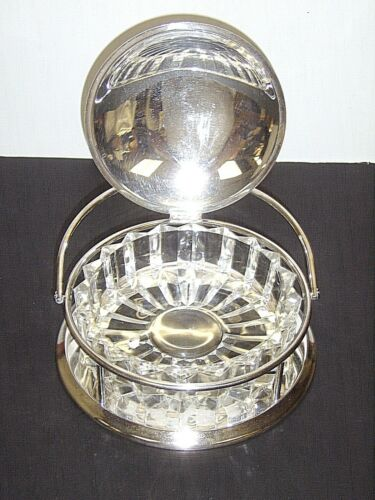 Vintage Crescent Silverplate Hinged Lid Serving Dish 93-S w/ Glass Insert  **