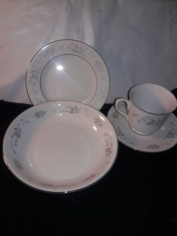"""carlton corsage 481 set of 4- 6.5"""" plate, cup and saucer and cereal bowl"""
