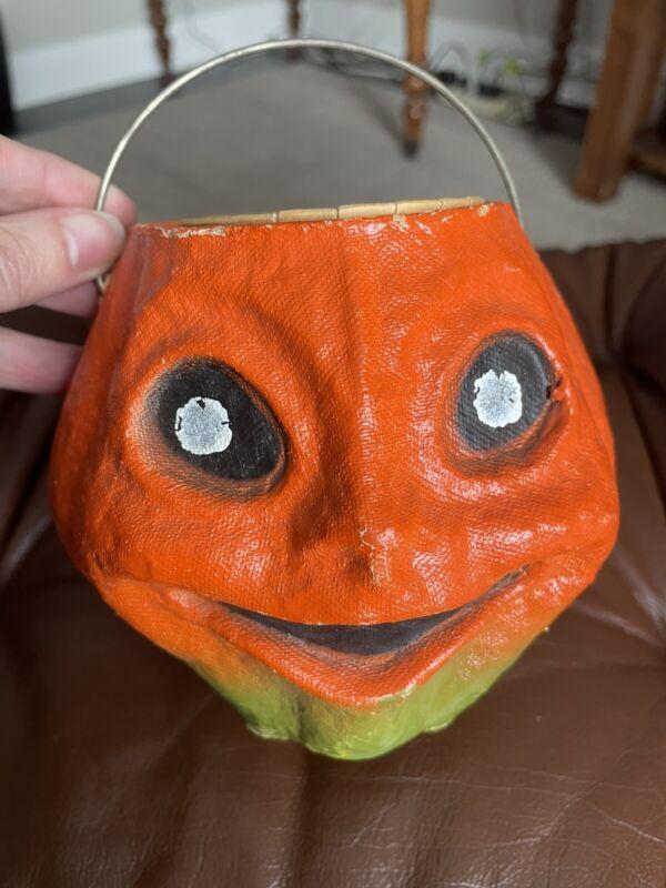 "Antique Paper Mache Halloween Jack-O-lantern Pumpkin 4 1/2"" Bucket With Cup"