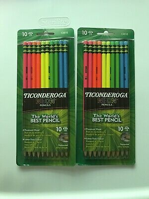 Lot Of 2 New Ticonderoga Neon 2 Pencils Sharpened