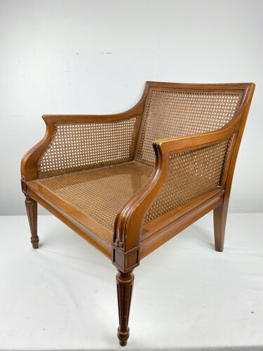Vintage Mid Century Regency Style Wood & Cane Club Chair Square Back