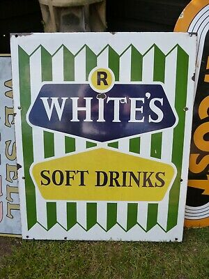 1950s R WHITES ENAMEL SIGN VINTAGE SOFT DRINKS SHOP FRONT ADVERTISING