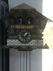 ANTIQUE CUENDET SWISS MUSICAL MOVEMENT WOODEN CUCKOO CLOCK NICE WORKS LOOK!