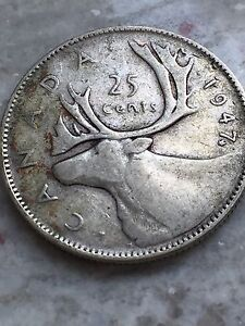 1947 Beautiful Canadian Silver Maple Leaf Quarter Coin
