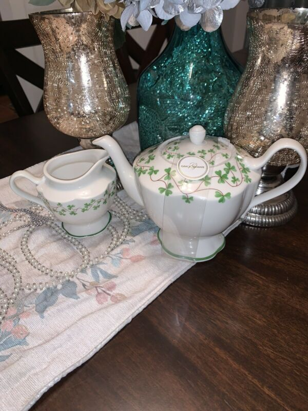Grace's Teaware Green And White Teapot And Creamer Set Fine Porcelain