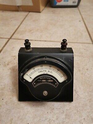 Vintage Weston Electrical Dc Volt Meter Voltage Gauge 0-50v