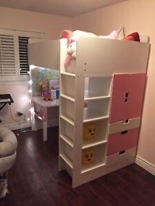 STUVA(Ikea) loft bed + wardrobe chest