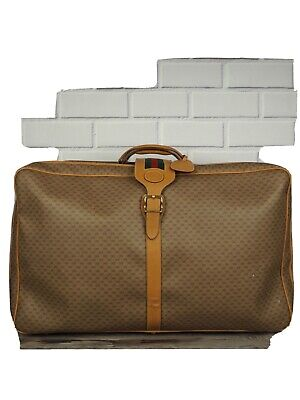 VIntage GUCCI Tan Green Micro G Monogram Leather Trim Soft Sided Suitcase