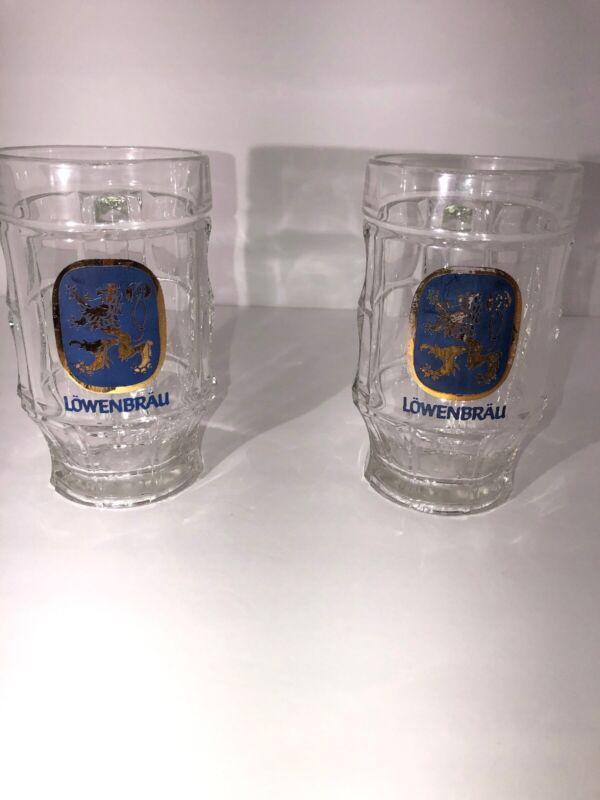 Lowenbrau Beer Glass Mug Dimpled Glass See Description