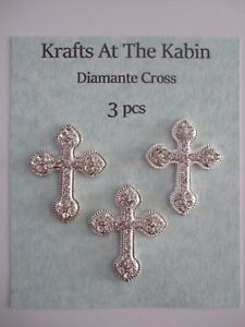 3 Diamante Silver Metal Cross Embellishments/Card crafts Christening