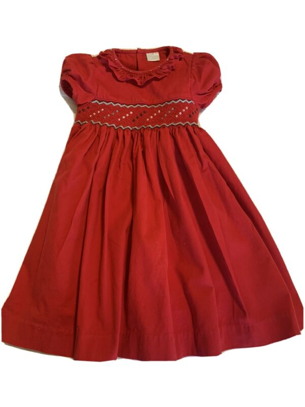 Edgehill Collection Smocked Dress Girls 3T Red, Gray Valentines