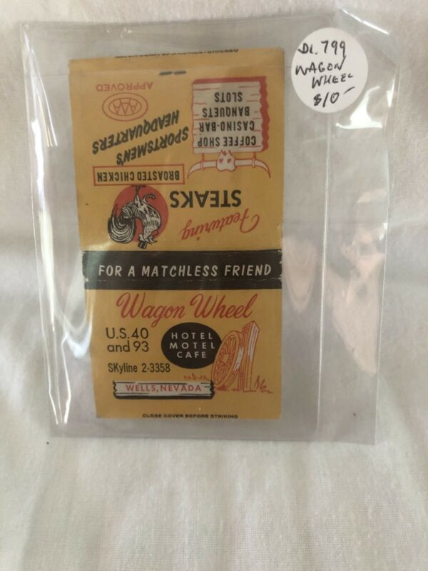 New Vintage Las Vegas Matchbook Wagonwheel Casino Bar Unstruck
